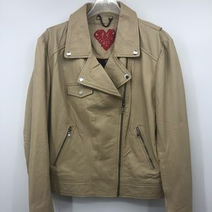 Love Your Body Beige Leather Biker Moto Jacket